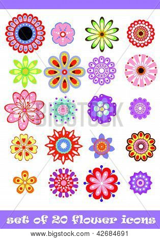 20 Colorful Flower Icons