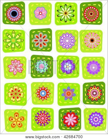 20 Colorful Patchwork Flower Icons