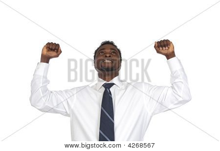 Attractive Businessman Celebrating A Triumph