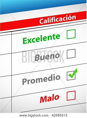 Feedback Selection Concept In Spanish