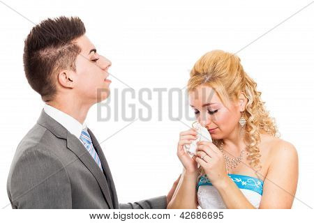 Unhappy Wedding Couple Crying