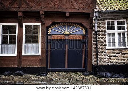 Old Skewed Door In Ribe, Denmark