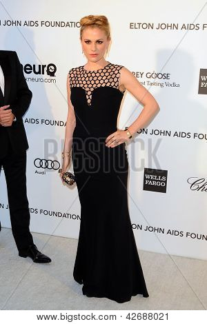 LOS ANGELES - FEB 24:  Anna Paquin arrives at the Elton John Aids Foundation 21st Academy Awards Viewing Party at the West Hollywood Park on February 24, 2013 in West Hollywood, CA