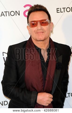 LOS ANGELES - FEB 24:  Bono arrives at the Elton John Aids Foundation 21st Academy Awards Viewing Party at the West Hollywood Park on February 24, 2013 in West Hollywood, CA