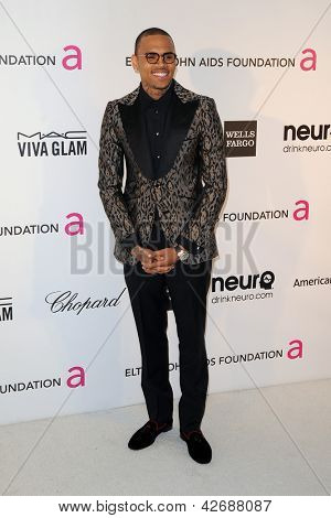 LOS ANGELES - 24 de fevereiro: Chris Brown chega a Elton John Aids Foundation 21 Academy Awards Vie