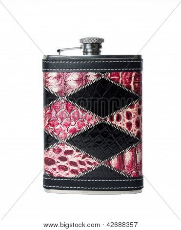 Stainless Steel Flask With Leather Trim
