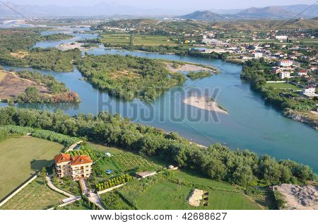 aerial view on the Buna River from Rozafa Castle, Shkodra