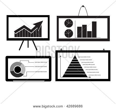 Minimal Cart ,bar Chart ,arrow Chart Pie Chart ,pyramid Chart On Board