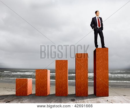 Business person on a graph, representing success and growth