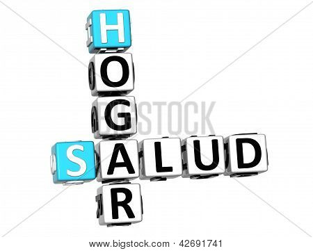 3D Home Health (hogar Salud) Crossword On White Background