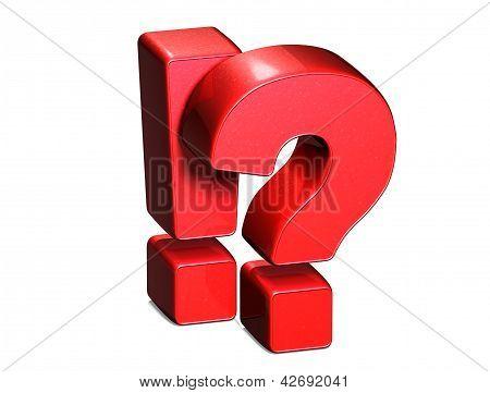 Exclamação 3D e vermelho de Mark pergunta Cadastre-se no fundo branco
