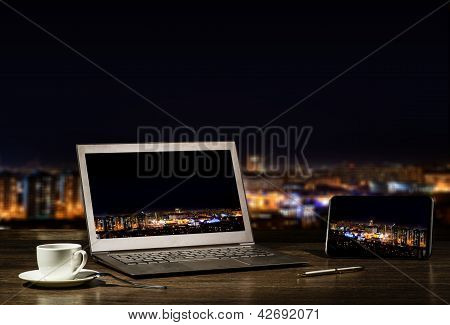 laptop and tablet, workplace businessman