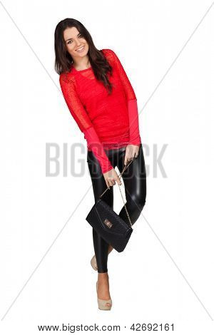 Elegant glamour woman wearing red blouse and leggins