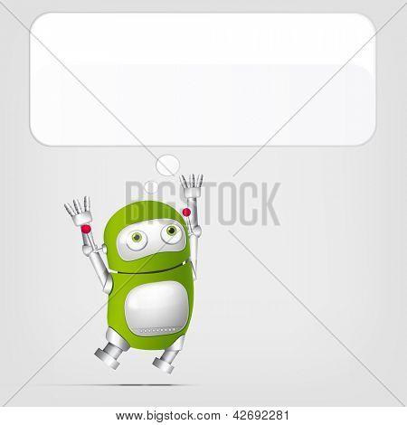 Cartoon Character Cute Robot Isolated on Grey Gradient Background. Jumping. Vector EPS 10.