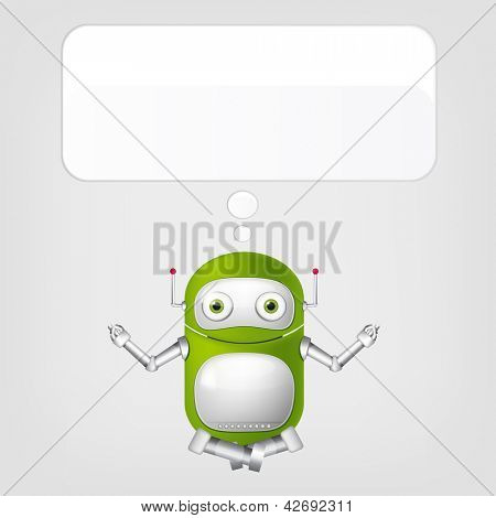 Cartoon Character Cute Robot Isolated on Grey Gradient Background. Yoga. Vector EPS 10.