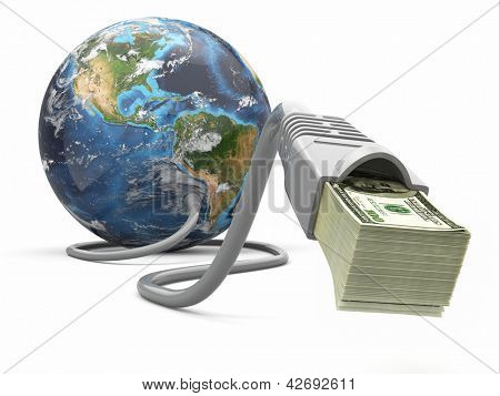 Make money online. Concept. Earth and internet cable with money. 3d Elements of this image furnished by NASA