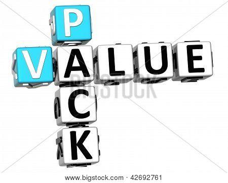 3D Pack Value Crossword On White Background