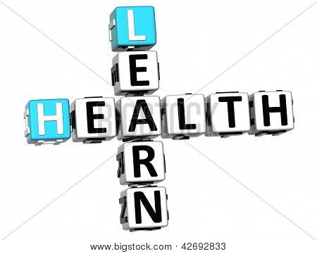3D Learn Health Crossword On White Background