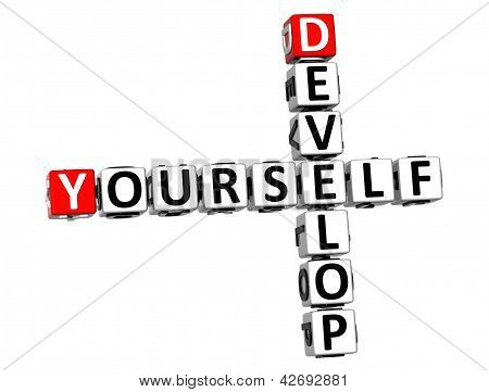3D Develop Yourself Crossword On White Background