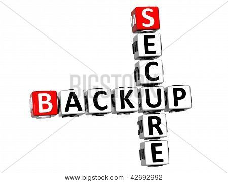 3D Secure Backup Crossword On White Background