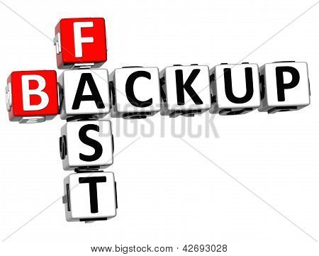 3D Fast Backup Crossword On White Background