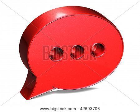 Firme discurso 3D Bubble rojo sobre fondo blanco