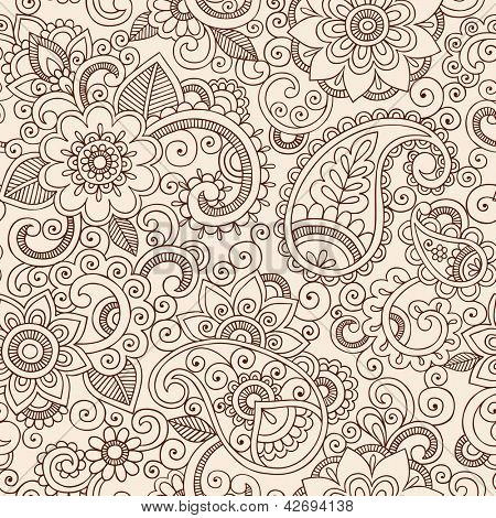 Henna Mehndi Tattoo Doodles Seamless Pattern- Paisley Flowers Illustration Design Elements