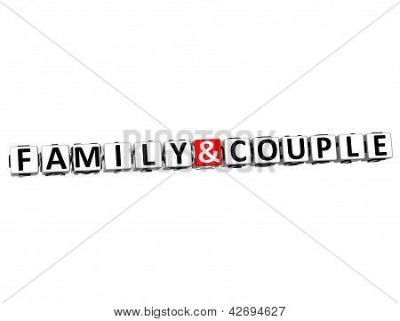 3D  Family And Couple Button Click Here Block Text