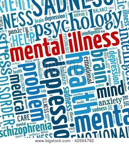 Geisteskrankheiten in Wort-collage