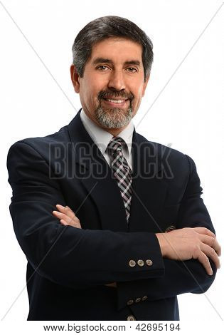Mature Hispanic businessman with arms crossed isolated over white background