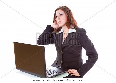 Stressful business woman working on the laptop over white backround