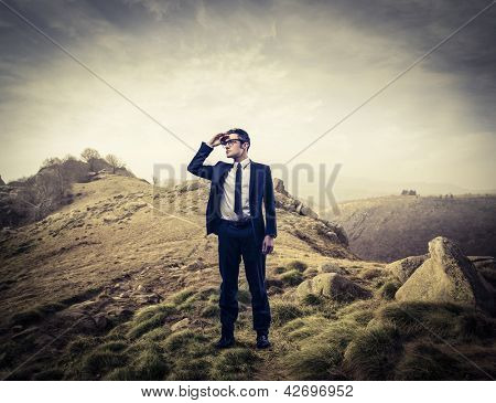 young businessman looking landscape