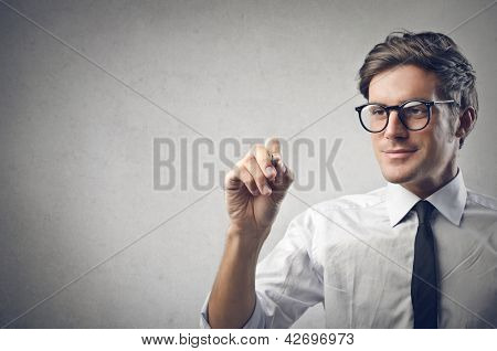 young businessman writing
