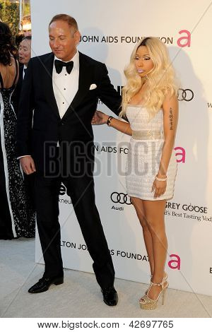 LOS ANGELES - FEB 24:  John Demsey, Nicki Minaj arrive at the Elton John Aids Foundation 21st Academy Awards Viewing Party at the West Hollywood Park on February 24, 2013 in West Hollywood, CA