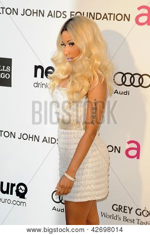 LOS ANGELES - FEB 24:  Nicki Minaj arrives at the Elton John Aids Foundation 21st Academy Awards Viewing Party at the West Hollywood Park on February 24, 2013 in West Hollywood, CA