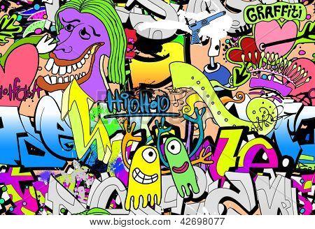 Graffiti wall. Urban art vector background