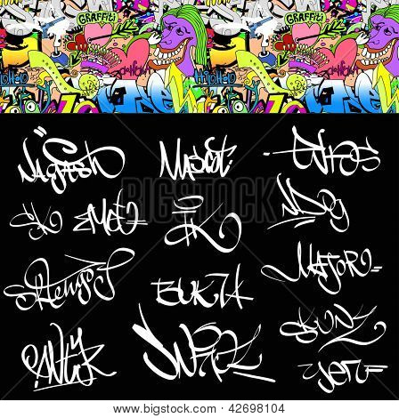 Graffiti font tags urban illustration set. Hip hop art design