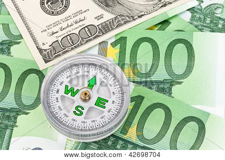 dollar en euro notities. symbool verschillen dollar euro