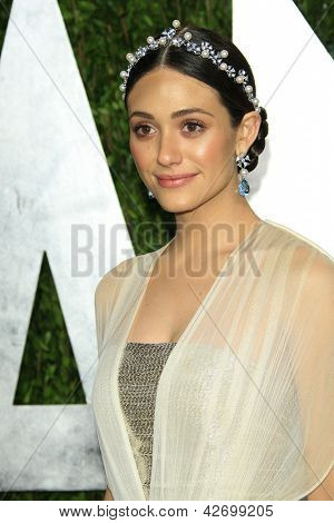 WEST HOLLYWOOD, CA - FEB 24: Emmy Rossum at the Vanity Fair Oscar Party at Sunset Tower on February 24, 2013 in West Hollywood, California