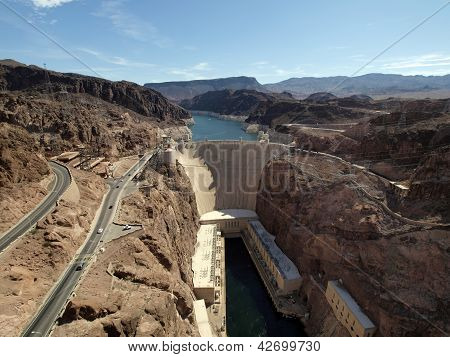 Breath Taking Aerial View Of The Colorado River, Hoover Dam, And Road