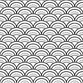 Traditional japanese waves ornament in black and white seamless pattern, vector