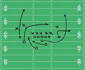pic of football field  - Sketch of a play over a football field - JPG