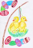 stock photo of whip-hand  - Happy Easter card with two small chicken easter whip and eggs  - JPG