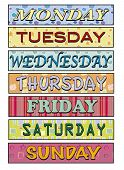 stock photo of weekdays  - a illustration of Days of the week - JPG