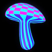 image of magical-mushroom  - Glowing colorful magic mushroom on black background - JPG