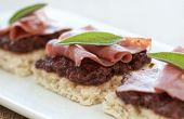 picture of canapes  - Canapes with calamata olive tapenade and beef with sage - JPG
