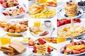 stock photo of scrambled eggs  - breakfast collage with pastry - JPG