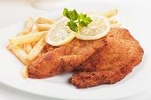 stock photo of pork cutlet  - Viener schnitzel - JPG
