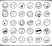 image of emoticons  - Set of thirty hand drawn emoticons or smileys each with a different facial expression and emotion - JPG