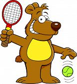 Cartoon bear playing tennis